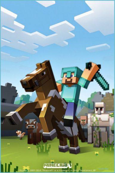 hình nền minecraft cưỡi ngựa