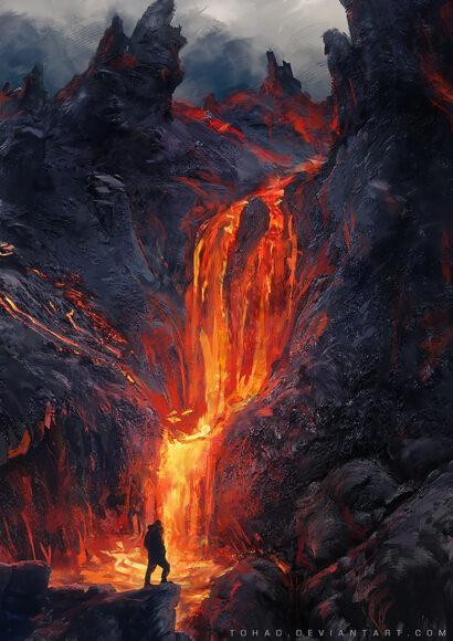 hình nền núi lửa phun trào