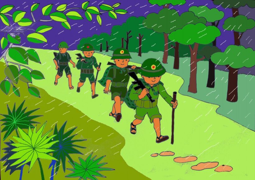 Hình vẽ chú bộ đội hành quân trong mưa