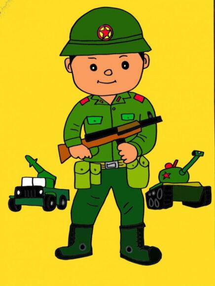 Hình vẽ chú bộ đội và xe tăng
