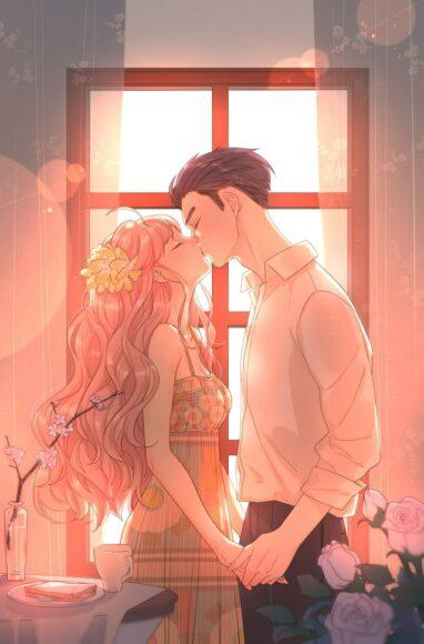 Hình ảnh anime đôi nụ hôn lãng mạn