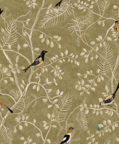 Hình ảnh chim họa mi trong họa tiết vải