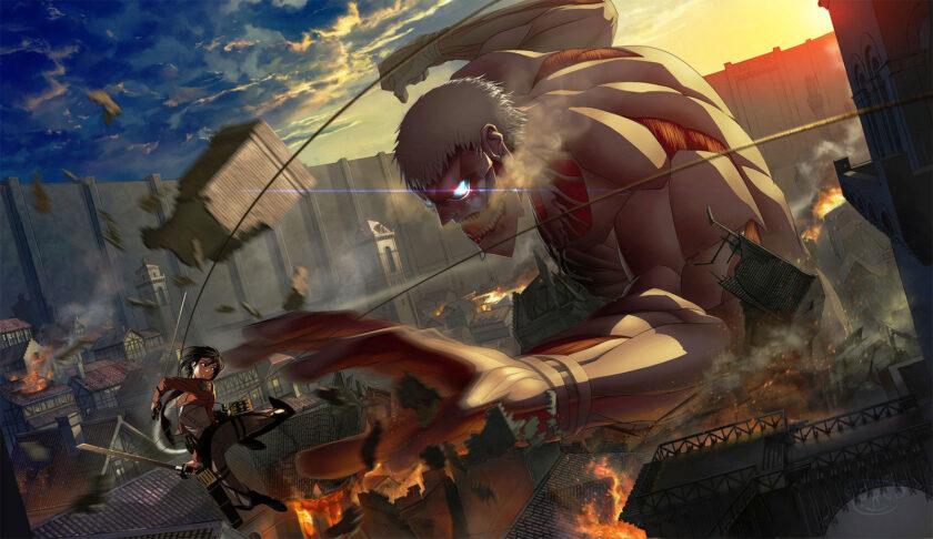 hình ảnh cuộc chiến Attack On Titan căng thẳng