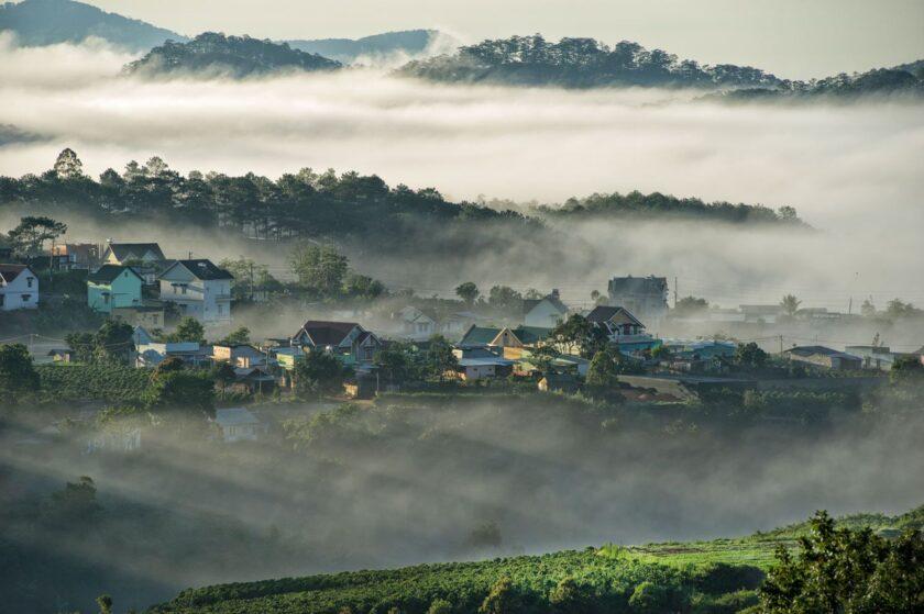 hình ảnh đà lạt mờ sương