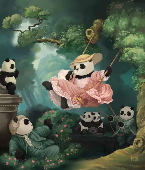 hình ảnh gấu trúc trong tranh vẽ