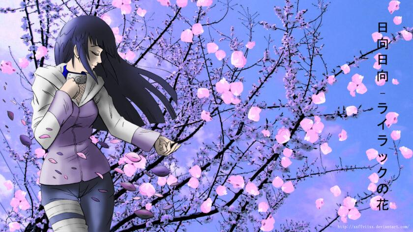 Hình ảnh Hinata đẹp bên hoa anh đào