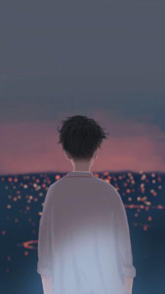 Hình ảnh hoạt hình buồn boy đau khổ cô đơn