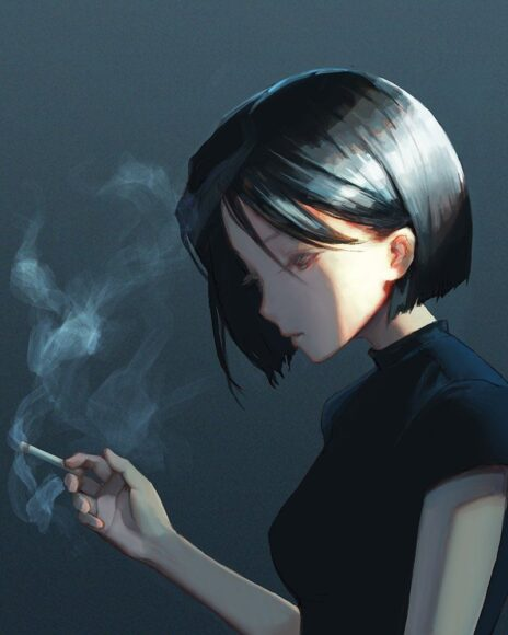 Hình ảnh khói thuốc buồn trầm ngâm