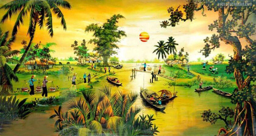 hình ảnh làng quê việt nam trong tranh vẽ
