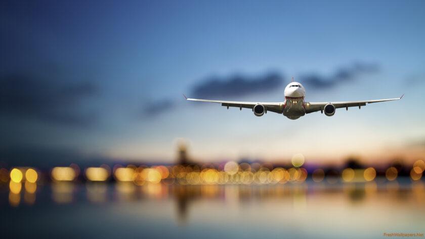 Hình ảnh máy bay chở khách đang hạ cánh