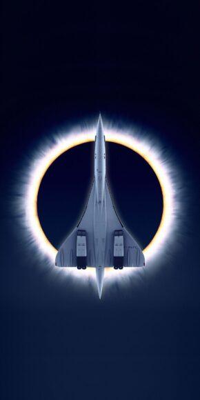 Hình ảnh máy bay concore dưới nhật thực