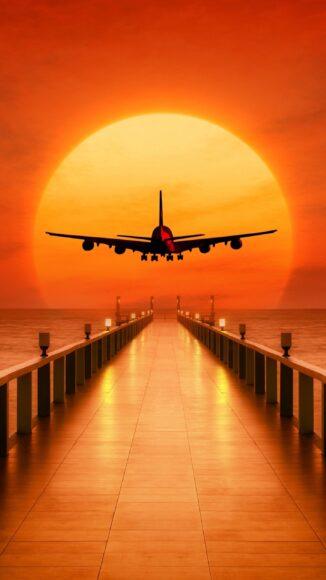 Hình ảnh máy bay dưới hoàng hôn