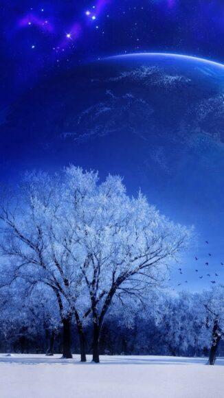 Hình ảnh mùa đông lạnh với vùng trời thiên hà