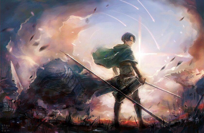 hình ảnh người anh hùng Levi uy dũng trong Attack On Titan