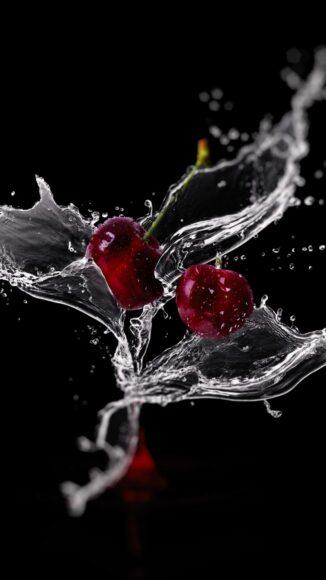 Hình ảnh quả cherry đang được tưới nước