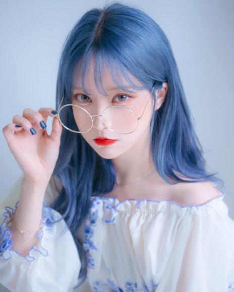 hình ảnh tóc nhuộm xanh khói