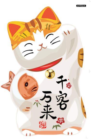 hình nền mèo thần tài ôm cá chép măn mắn