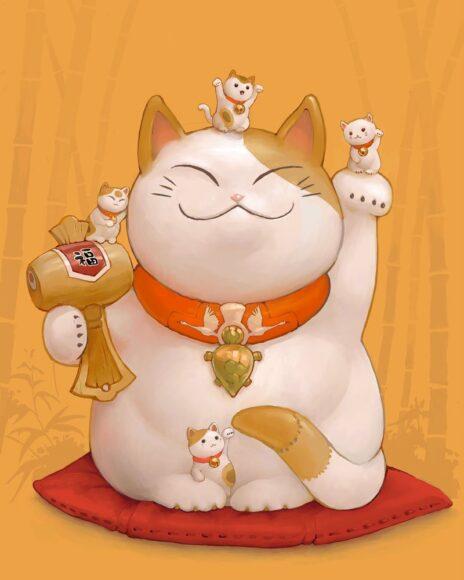 hình nền mèo thần tài trắng