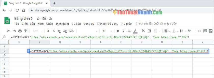nhập vào công thức lấy dữ liệu của hàm importrange
