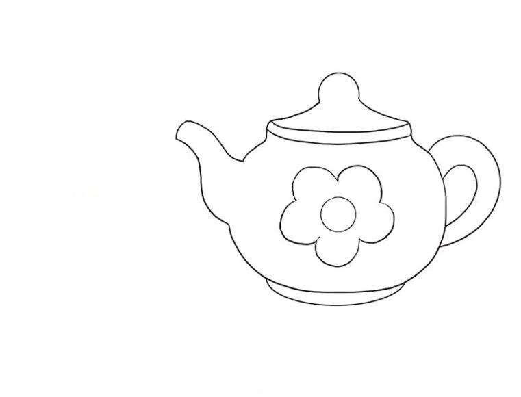 Tô màu đồ dùng gia đình với ấm trà