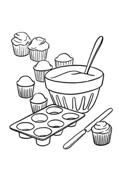 Tô màu đồ dùng gia đình với dụng cụ làm bánh