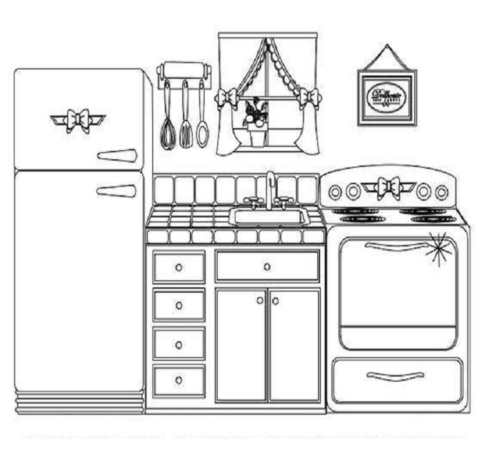Tô màu đồ dùng gia đình với gian bếp nhỏ