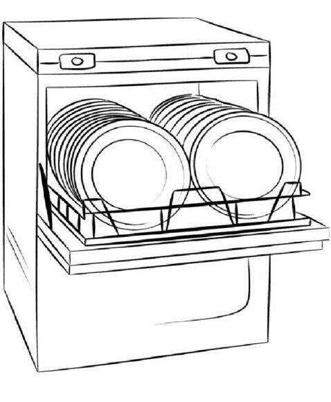 Tô màu đồ dùng gia đình với máy rửa chén