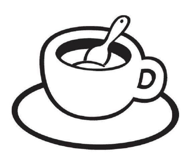 Tô màu đồ dùng gia đình với tách cà phê