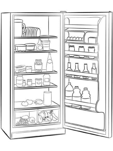 Tô màu đồ dùng gia đình với tủ lạnh