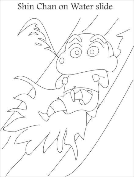 tranh tô màu bé shin chơi trò chơi trượt nước