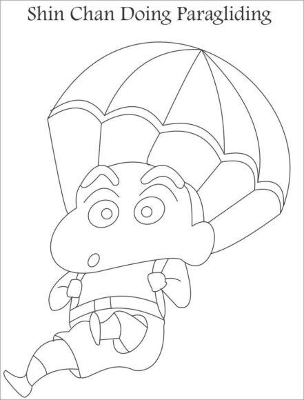 tranh tô màu bé Shin đang chơi nhảy dù