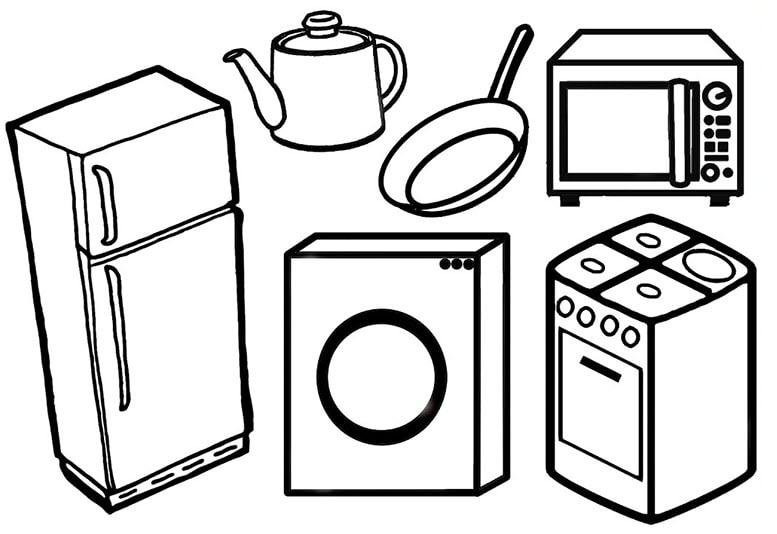 tranh tô màu đồ dùng gia đình trong bếp