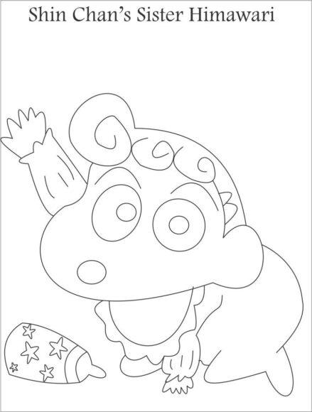 tranh tô màu em gái của Shin - cố bé Himawari