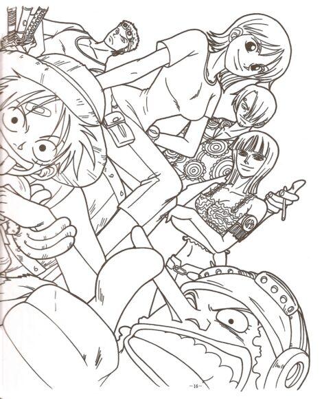 Tranh tô màu One Piece băng Mũ Rơm đang thể hiện cá tính