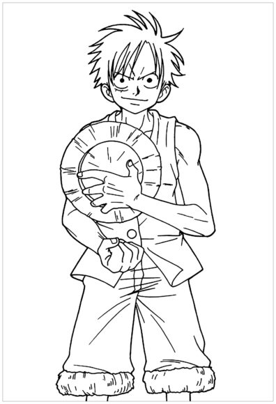 Tranh tô màu One Piece cùng Luffy