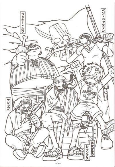 Tranh tô màu One Piece Luffy cùng băng Tóc Đỏ