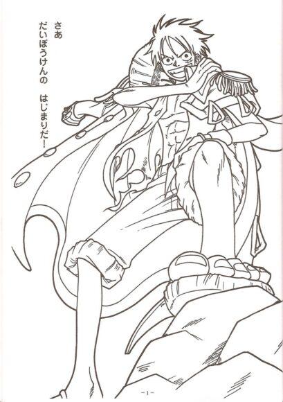 Tranh tô màu One Piece Luffy oai phong