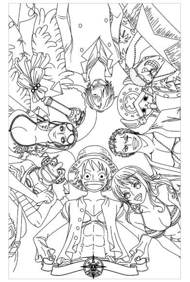Tranh tô màu One Piece toàn bộ băng Mũ Rơm