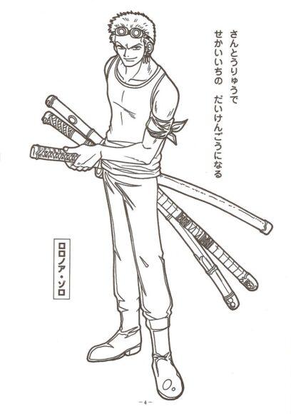 Tranh tô màu One Piece Zoro