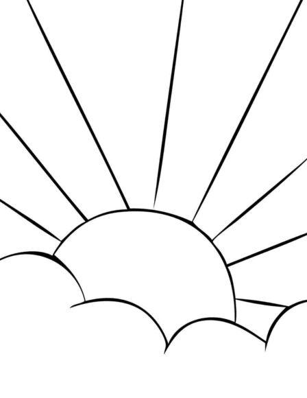 Tranh tô màu ông mặt trời và đám mây đang chiếu sáng