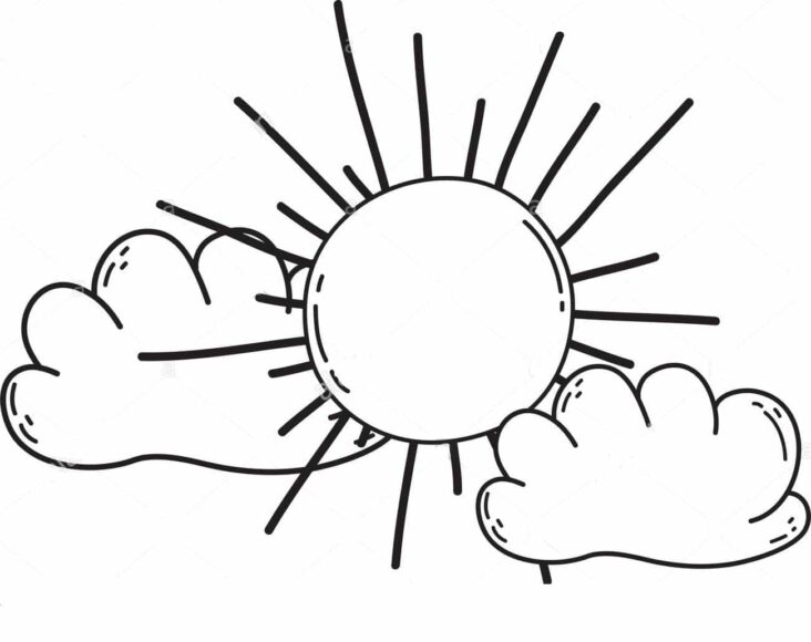 Tranh tô màu ông mặt trời và đám mây đang ở bên nhau