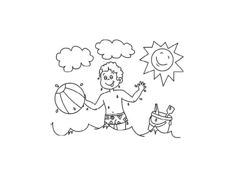 Tranh tô màu ông mặt trời và đám mây đang tỏa ánh nắng cho cậu bé rên bãi biển