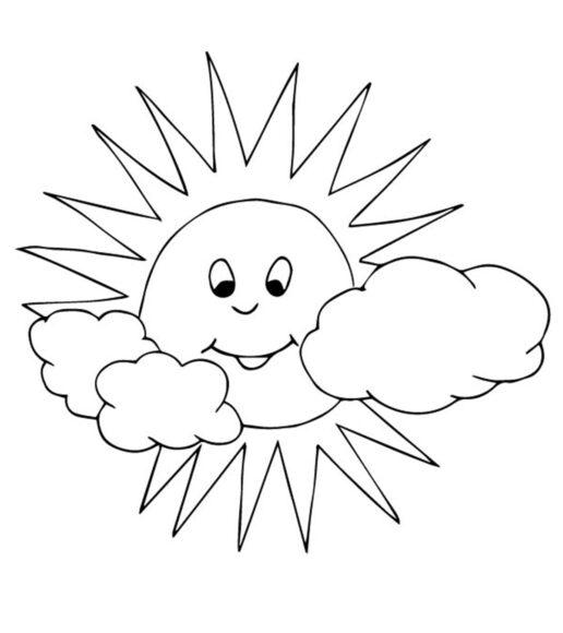 Tranh tô màu ông mặt trời và đám mây đang tươi cười