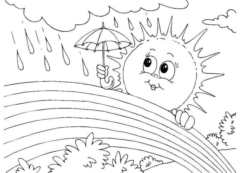 Tranh tô màu ông mặt trời và đám mây đáng yêu