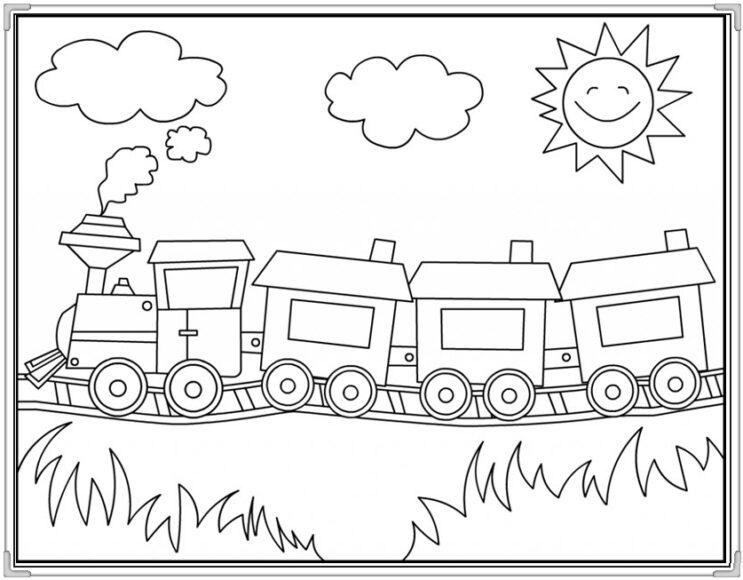 Tranh tô màu ông mặt trời và đám mây trên đoàn tàu