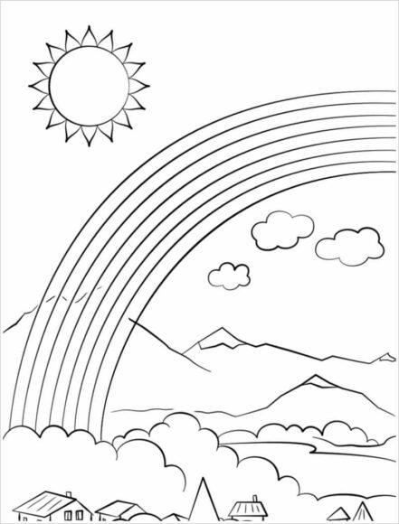Tranh tô màu ông mặt trời và đám mây trên ngôi làng cầu vồng