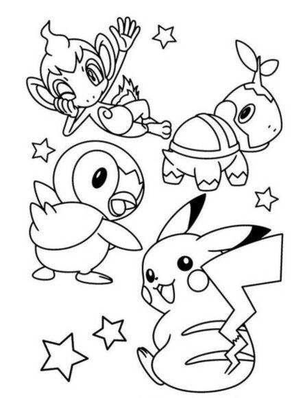 Tranh tô màu Pokemon các loại thú đáng yêu
