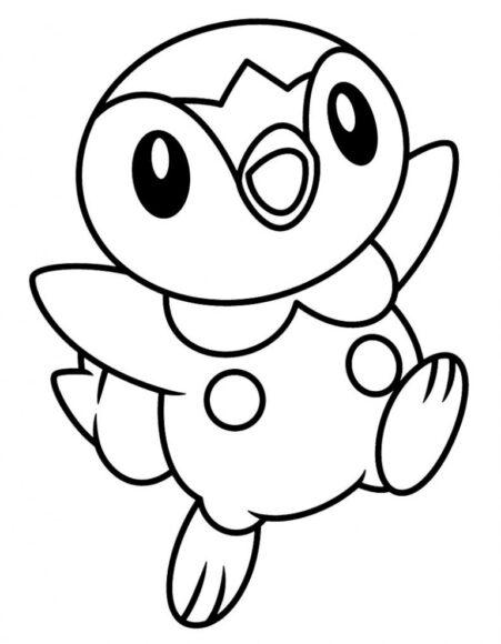 Tranh tô màu Pokemon chú cánh cụt đáng yêu