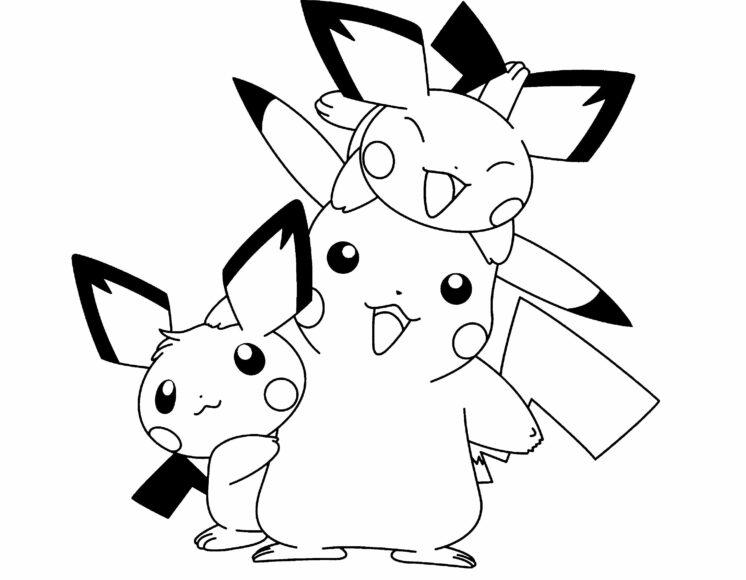 Tranh tô màu Pokemon gia đình pikachu