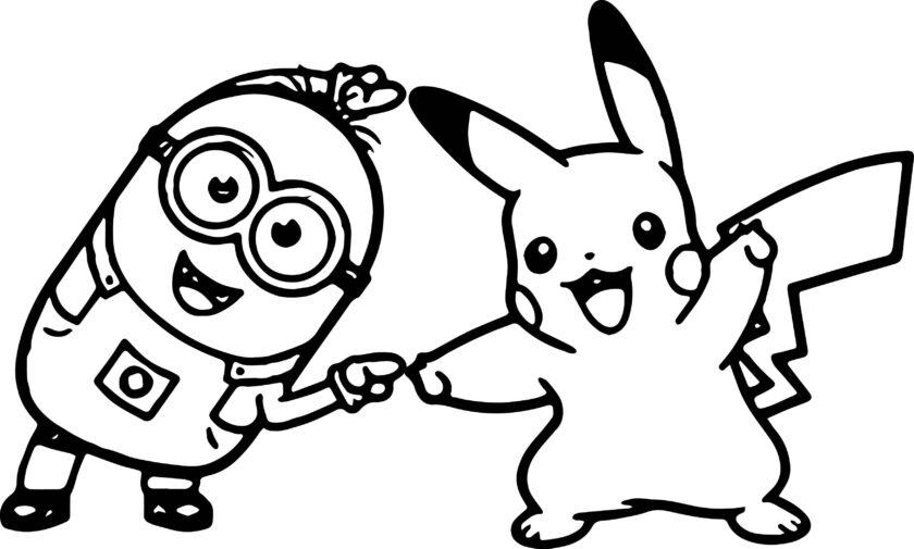 Tranh tô màu Pokemon và Mimion